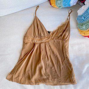 Vintage Bebe Lace asymmetric Brown Tank Top